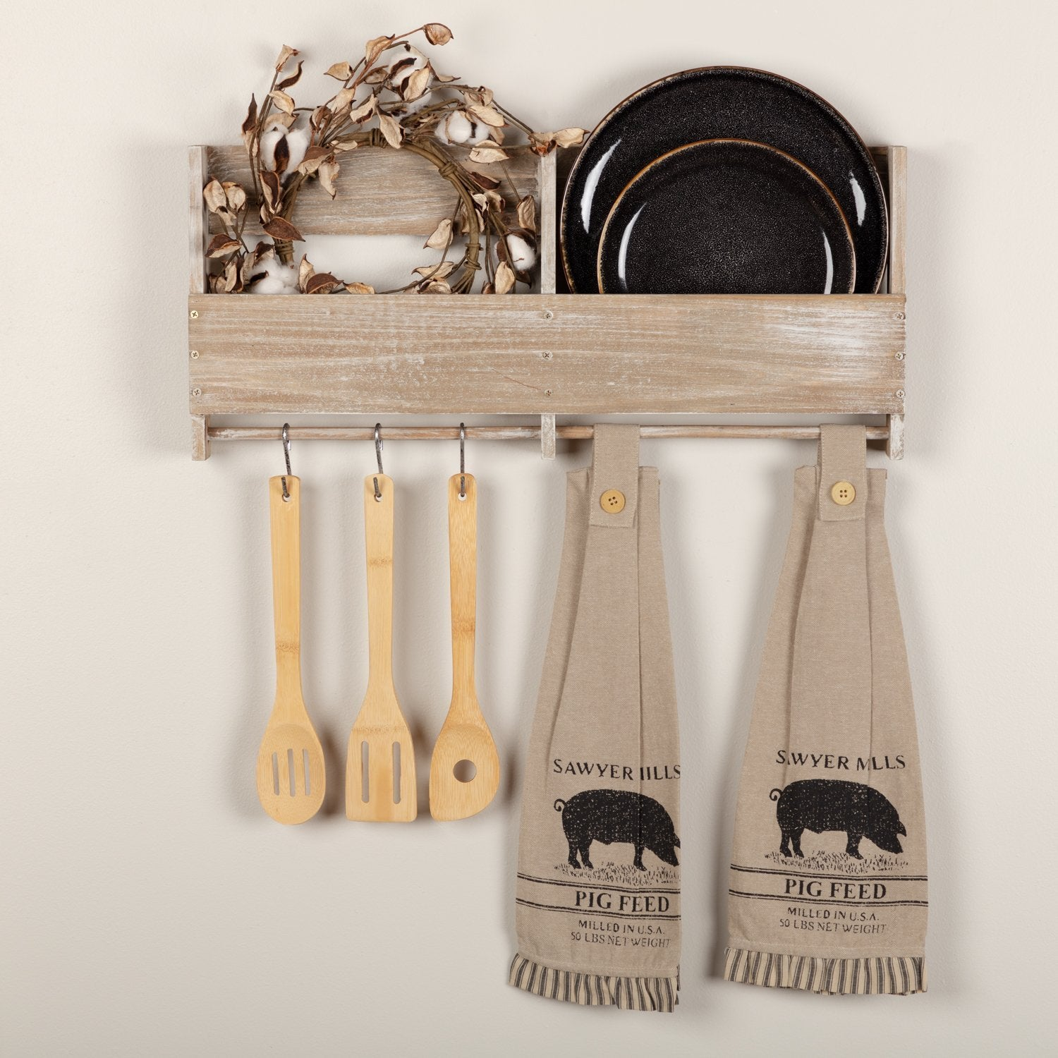 Sawyer Mill Charcoal Pig Button Loop Kitchen Towel Set of 2.