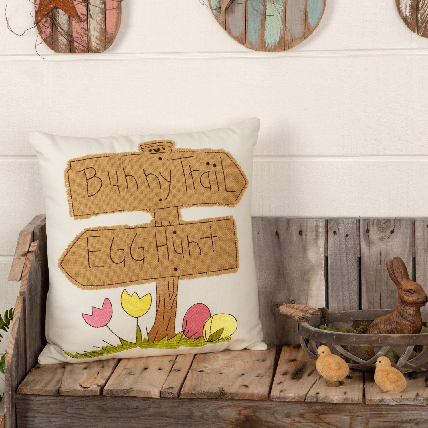 Easter Bunny Trail Pillow.