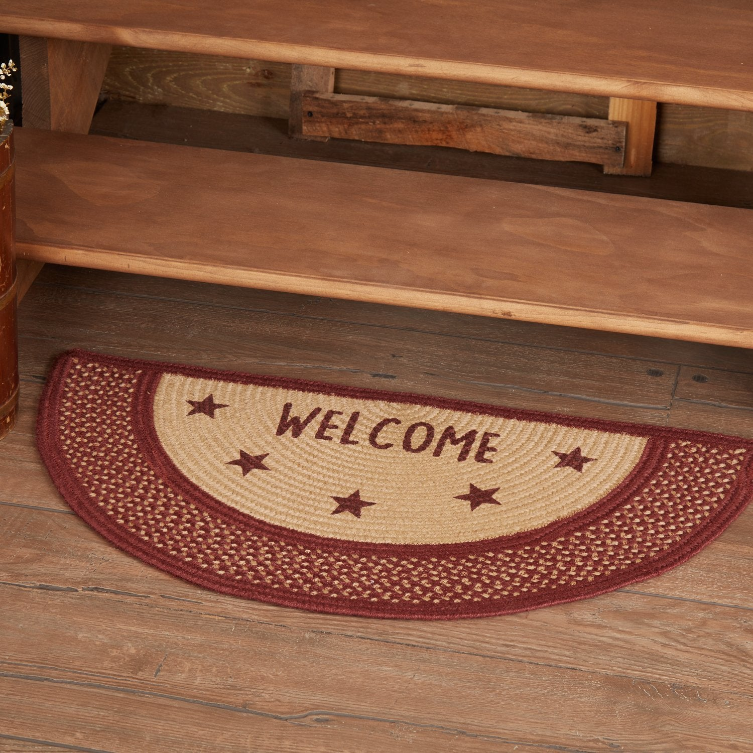 Burgundy Red Primitive Jute Rug Half Circle Stencil Stars Welcome