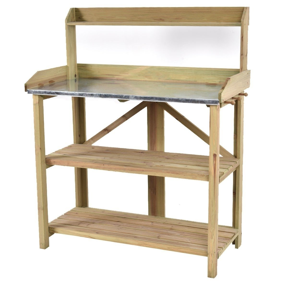 Outdoor Garden Workstation Potting Bench with Metal Top.