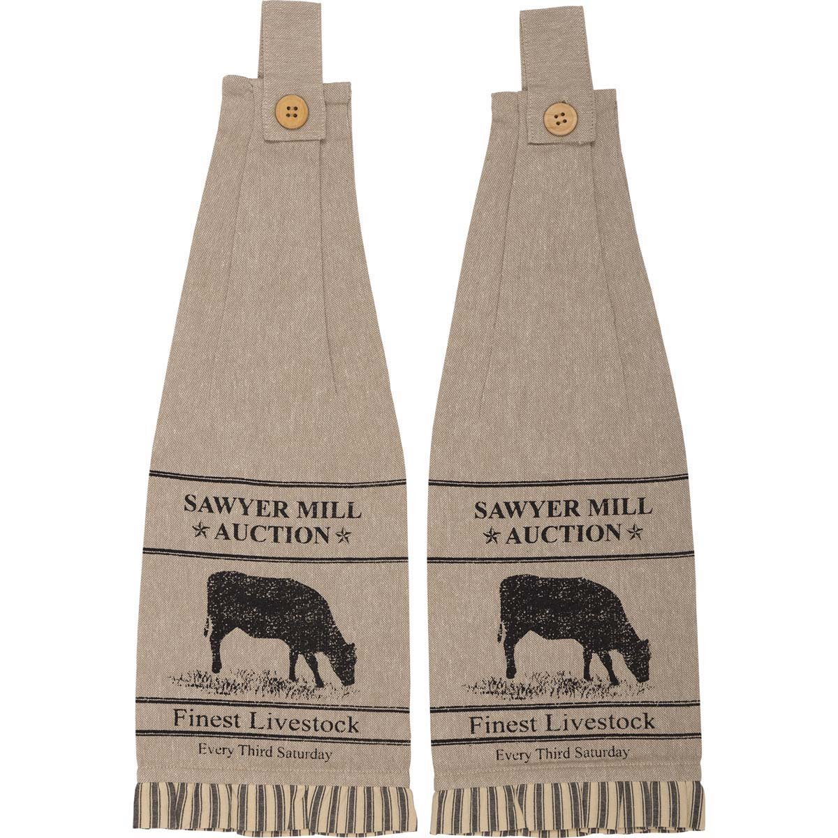 Sawyer Mill Charcoal Cow Button Loop Kitchen Towel Set of 2