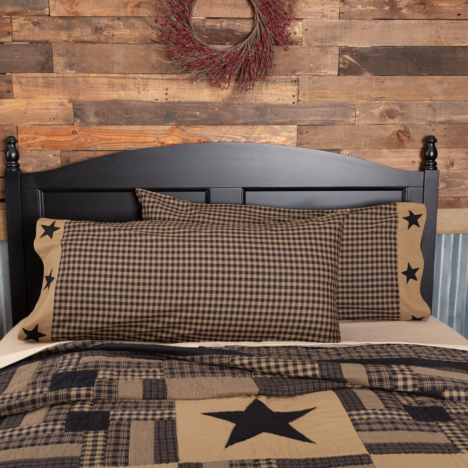 Black Check Star Pillow Case Set of 2.