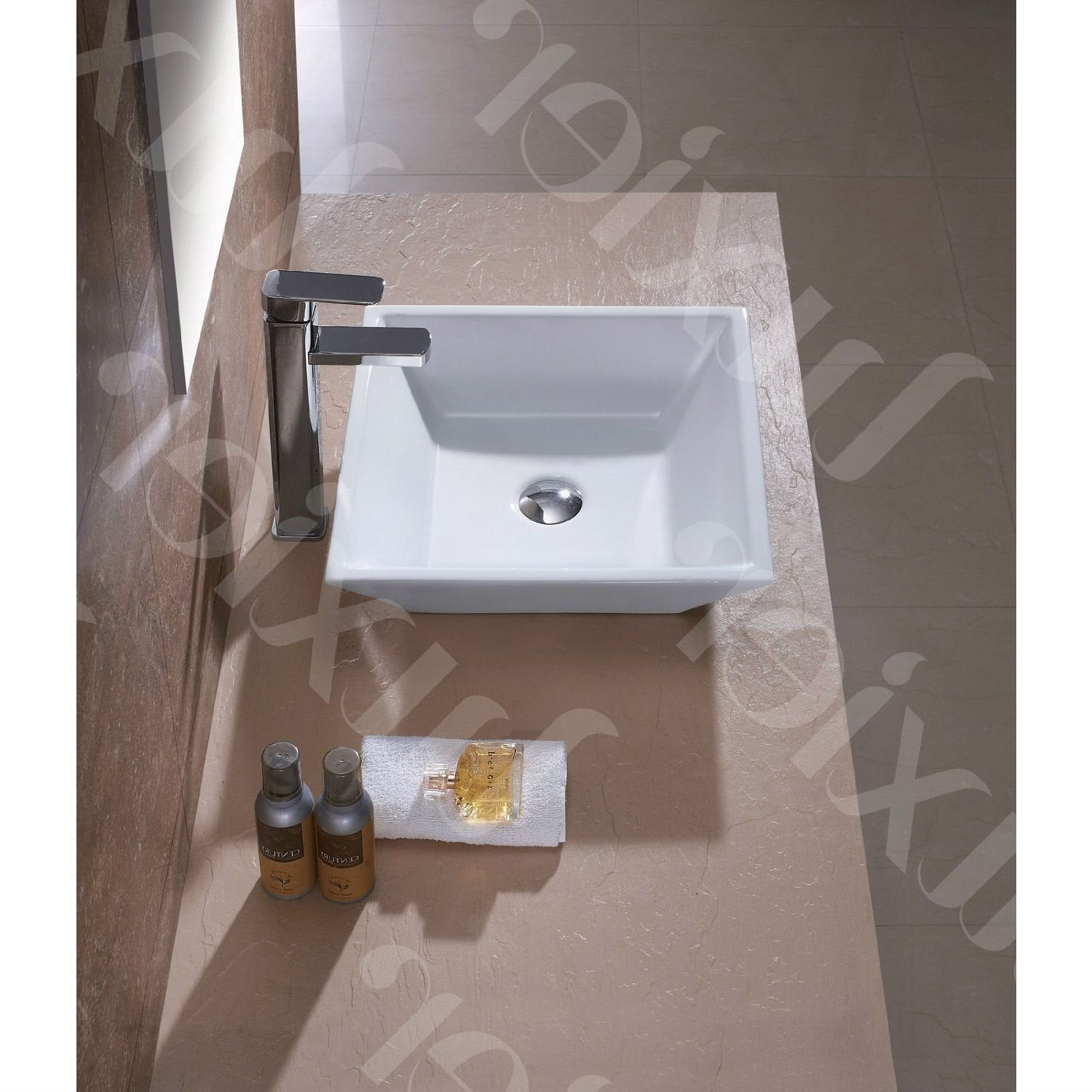 Contemporary White Ceramic Porcelain Vessel Bathroom Vanity Sink - 16 x 16-inch.