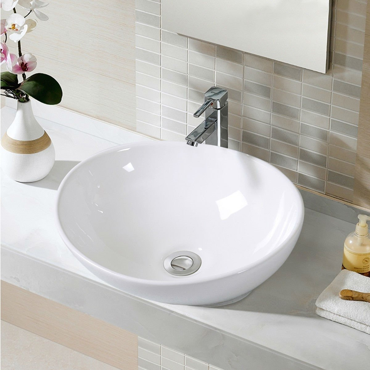Contemporary Oval Basin Round Vessel Bathroom Sink in White.