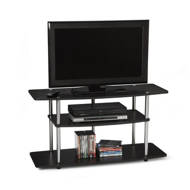 3-Tier Flat Screen TV Stand in Black Wood Grain / Stainless Steel.