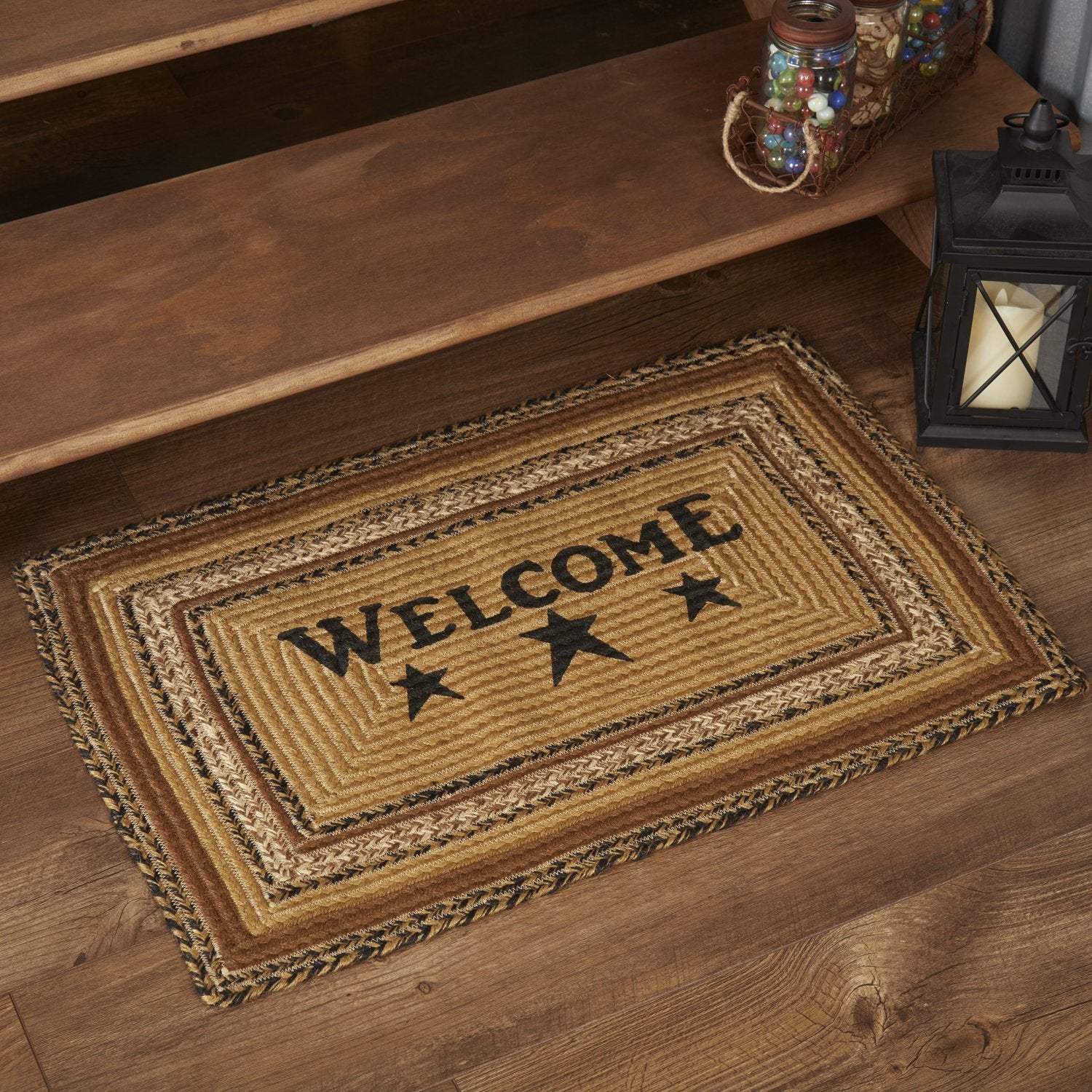 Kettle Grove Welcome Stenciled Jute Rug Rectangle