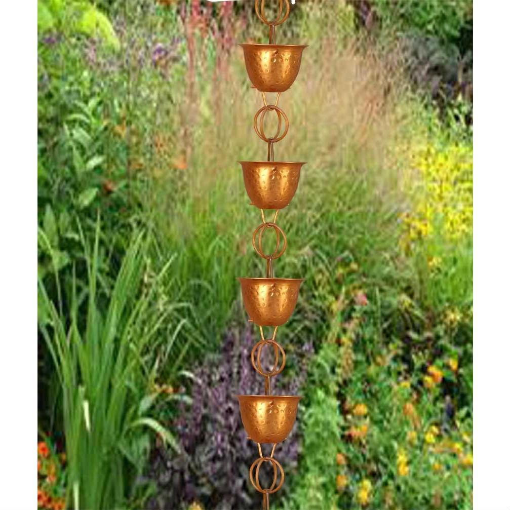 Hammered Copper Cups 8.5-Feet Rain Chain Rain Gutter Downspout Alternative