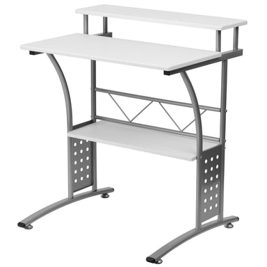 Modern Metal Frame Computer Desk with White Laminate Top and Raised Shelf.