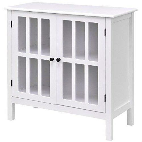 White Wood Bathroom Storage Floor Cabinet with Glass Doors.