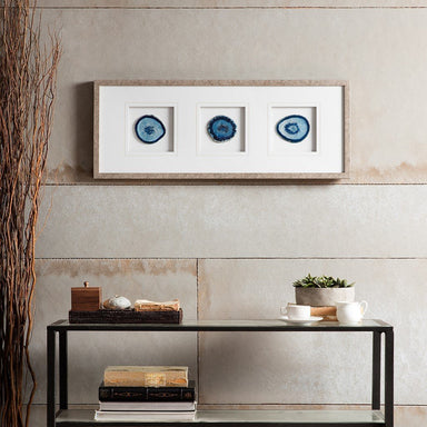 Blue Agate Trio Stone Framed Graphic