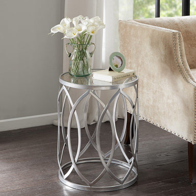 Arlo Metal Eyelet Accent Table.