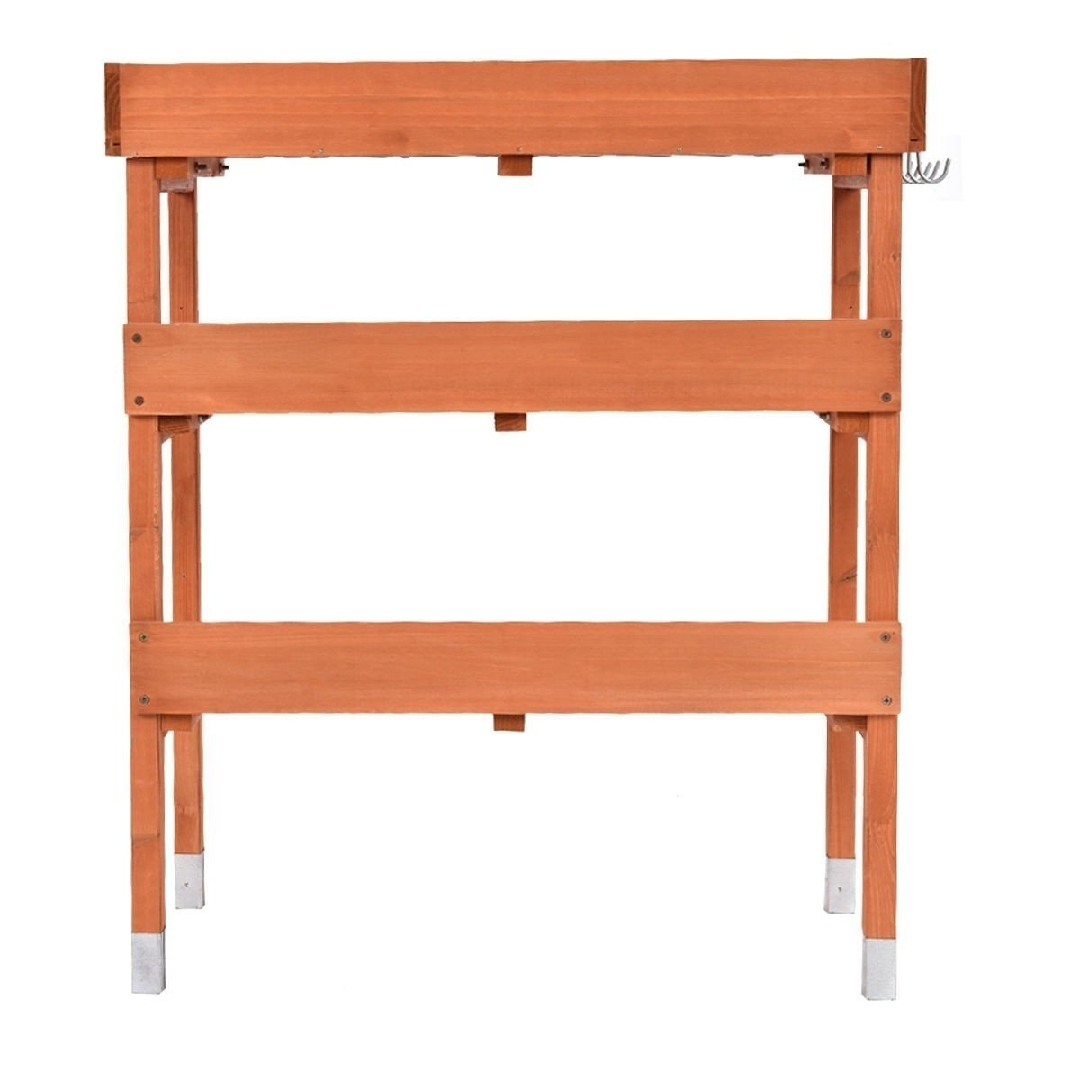Outdoor Garden Wood Potting Bench Storage Shelf with Metal Top.