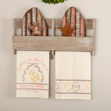Sawyer Mill Easter on the Farm Chick Unbleached Natural Muslin Tea Towel Set of 2.