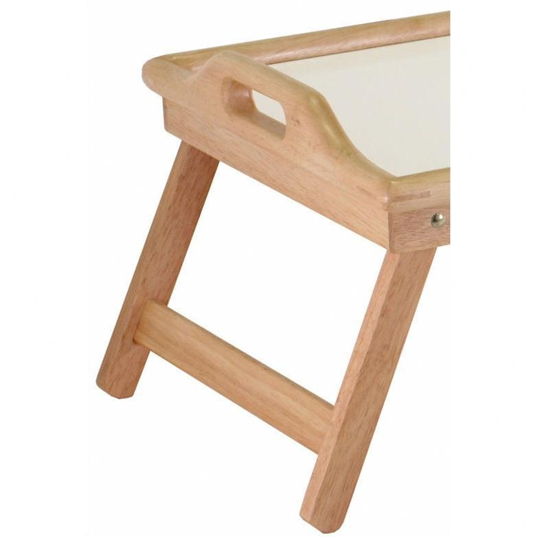 Breakfast in Bed Tray Table with Handles and Foldable Legs.