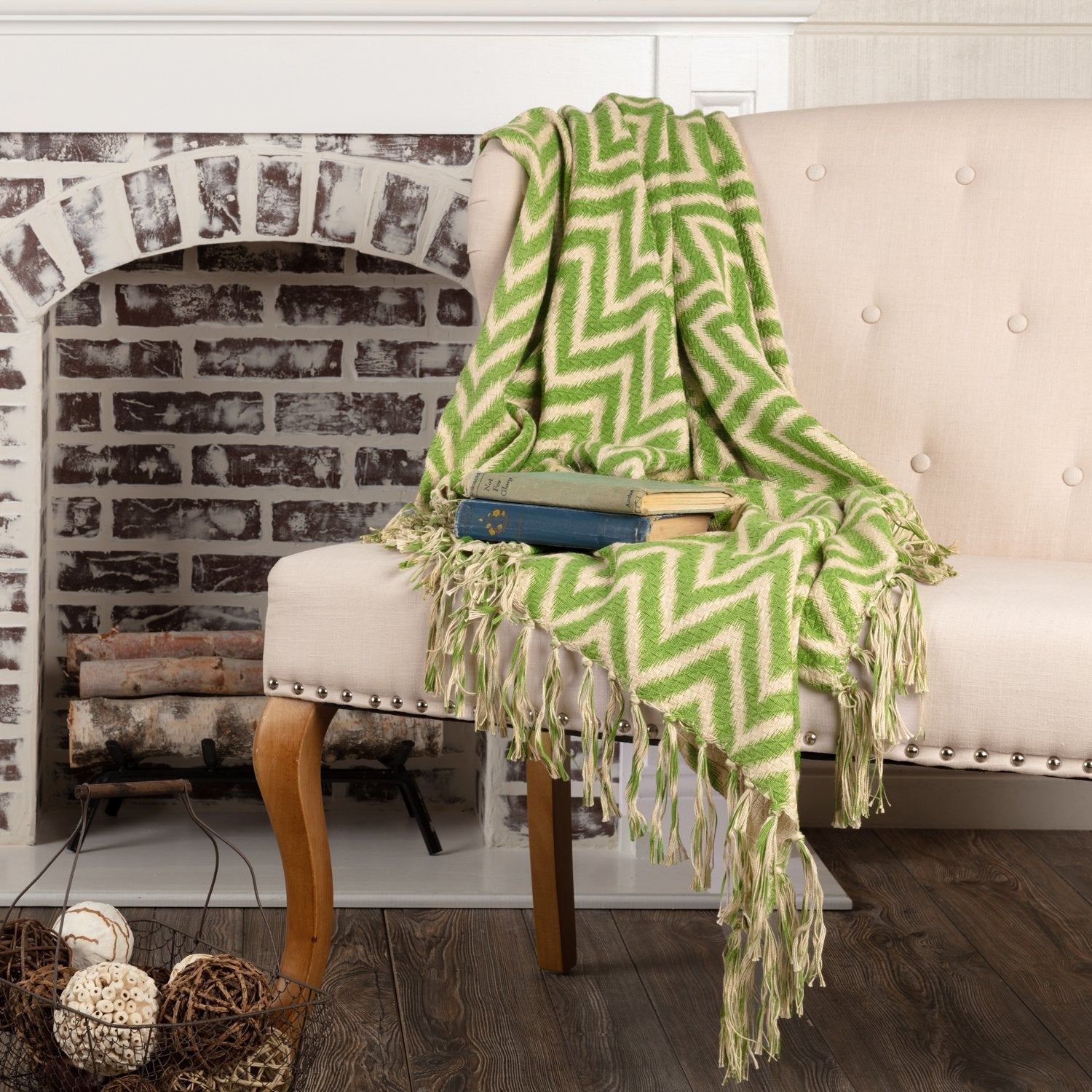 Green Chevron Woven Throw