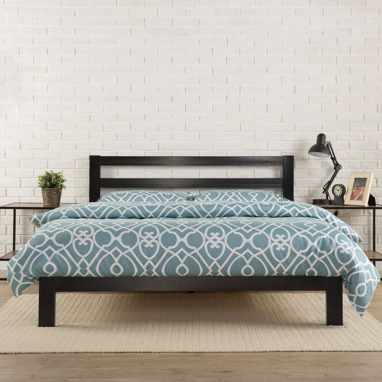 Queen Heavy Duty Metal Platform Bed Frame with Headboard and Wood Slats.