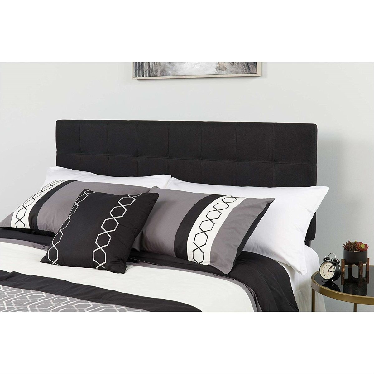 Queen size Modern Black Fabric Upholstered Panel Headboard.