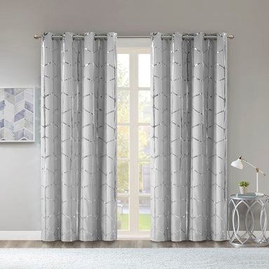 Raina Total Blackout Metallic Print Grommet Top Curtain Panel.