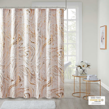 Rebecca Printed Marble Metallic Shower Curtain.