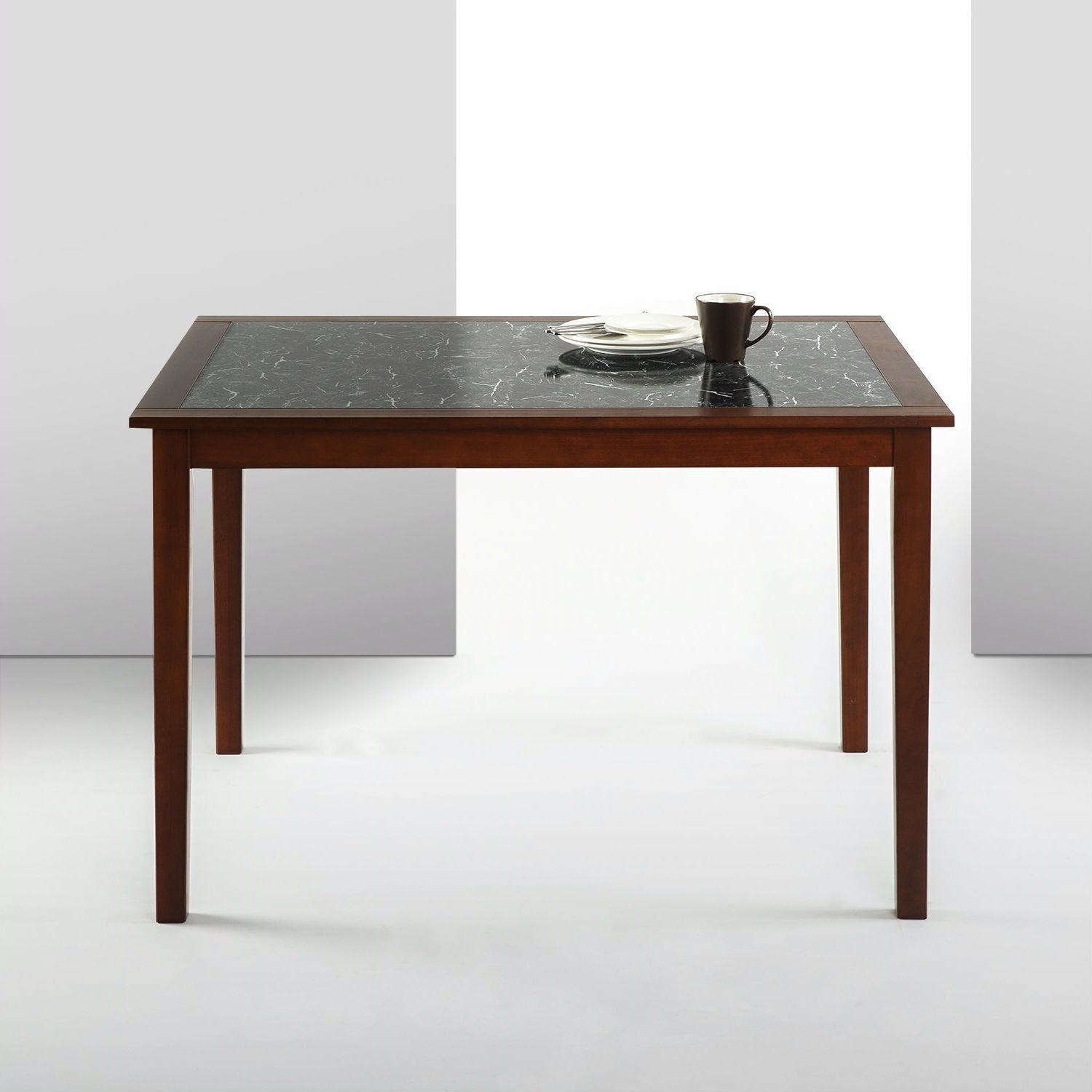 Rectangular 48 x 36 inch Brown Wood Dining Table with Faux Marble Top.