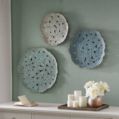 Rossi Blue Iron Painted Wall Decor Set of 3.