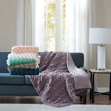 Ruched Fur Throw