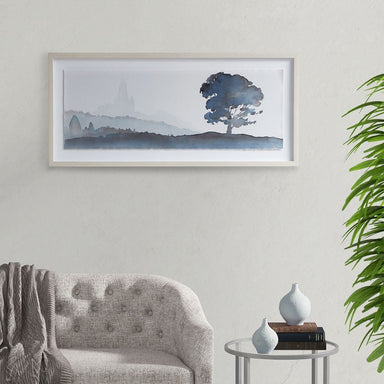 Serene Silhouette Glass Framed Scenery Graphic with Single Floating Mat.