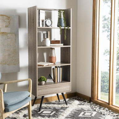Terrence Retro Mid Century Wood Etagere.