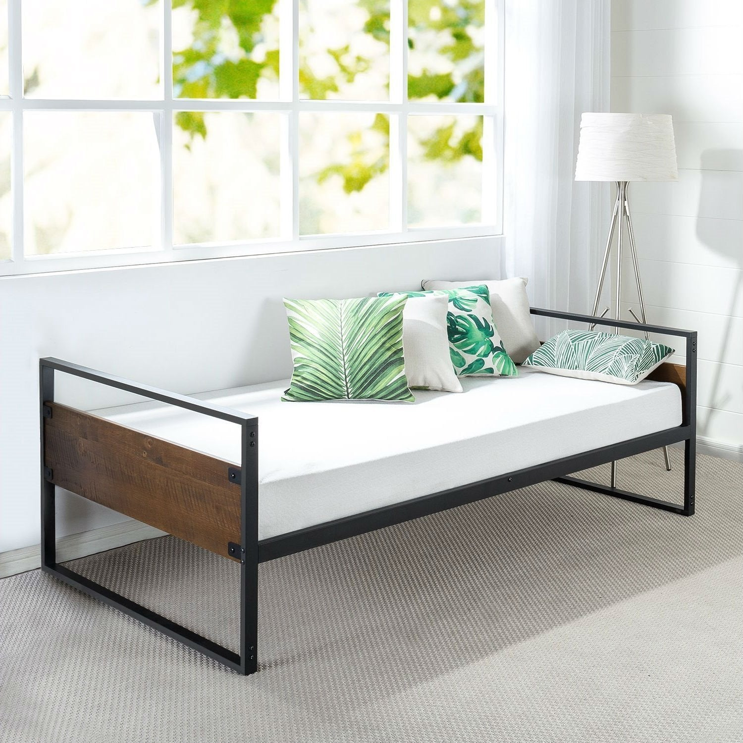 Twin Modern Wood Metal Daybed Frame with Steel Slats.