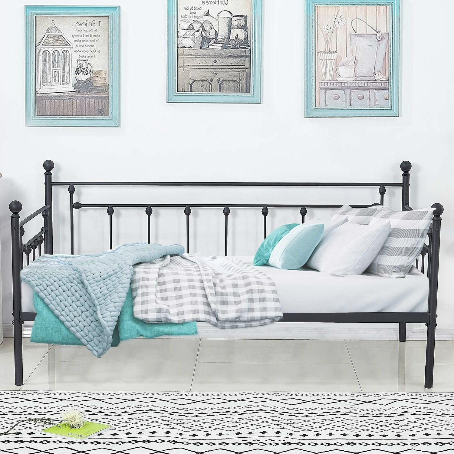 Twin size Classic Black Metal Daybed Frame