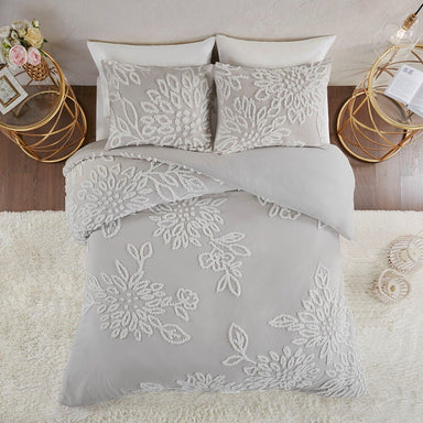 Veronica 3 Piece Tufted Cotton Chenille Floral Duvet Cover Set.