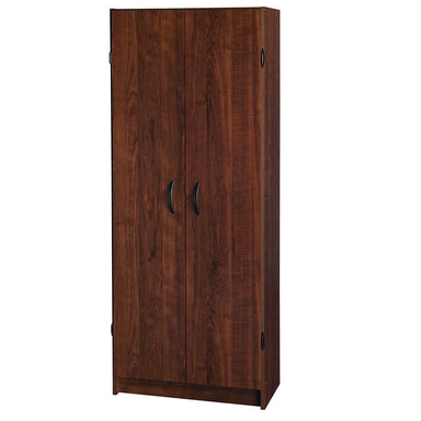 Wardrobe Cabinet with Shelves in Dark Cherry Wood Finish Bedroom Kitchen or Bathroom.