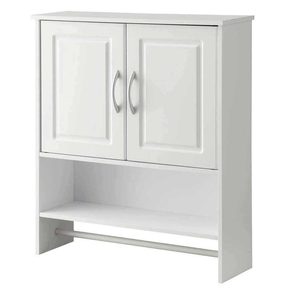 White Bathroom Wall Cabinet with Open Shelf with Towel Rod.
