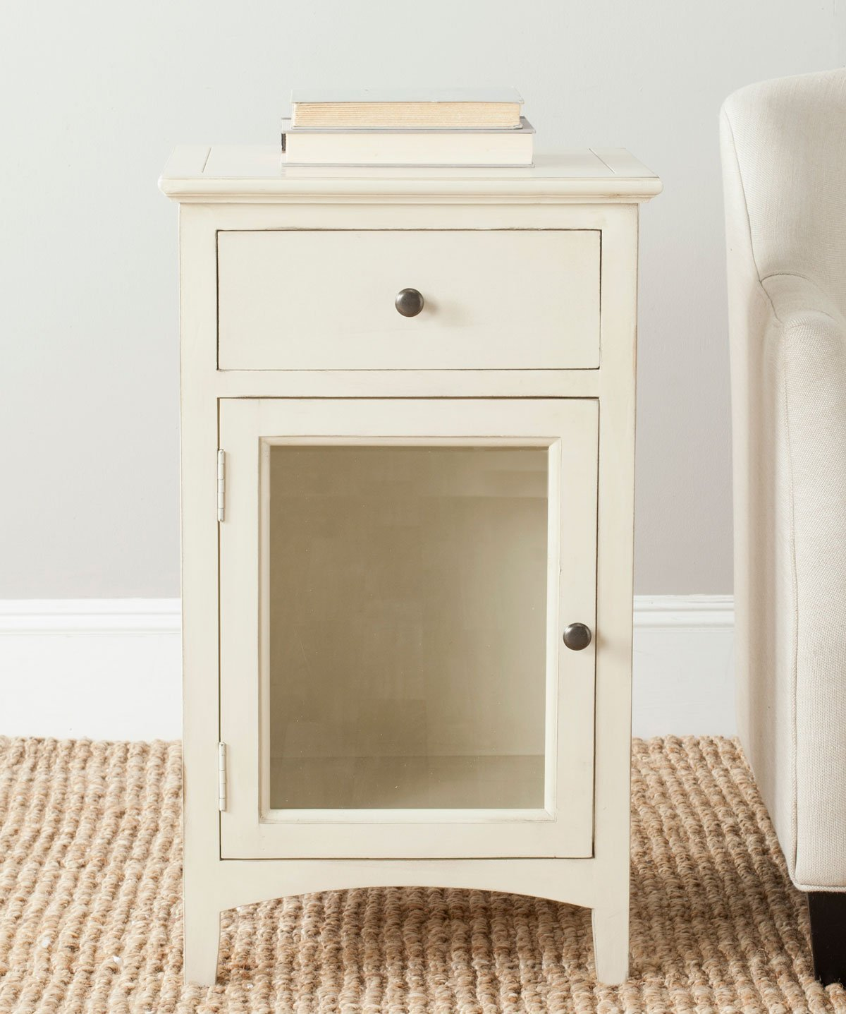 Ziva One Drawer End Table W/ Glass Cabinet.
