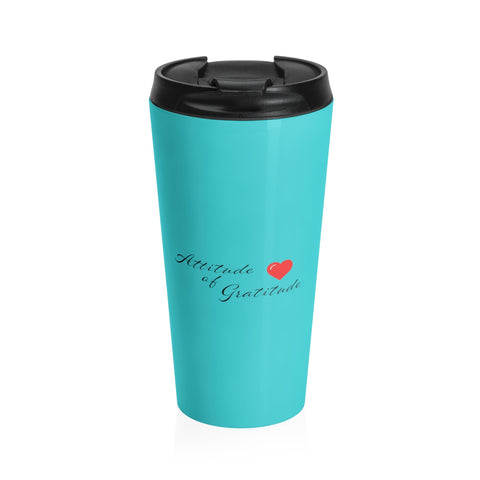 Attitude Of Gratitude - Heart Stainless Steel Travel Mug