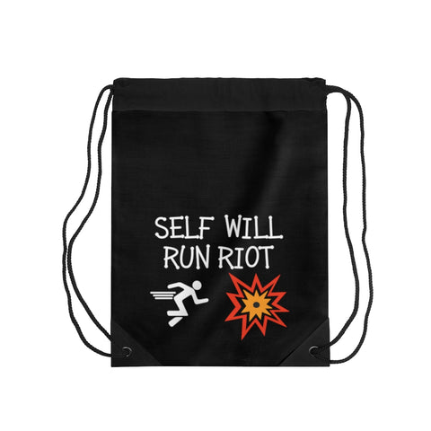 Self Will Run Riot Drawstring Bag