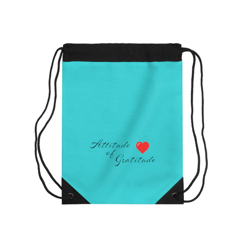 Attitude Of Gratitude - Heart Drawstring Bag