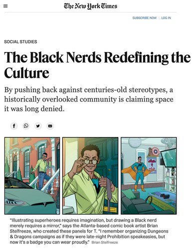 """masthead of NYTimes with headline of article. Subtitle reads: """"<p class=""""css-15tk4ly e1wiw3jv0"""">By pushing back against centuries-old stereotypes, a historically overlooked community is claiming space it was long denied."""""""