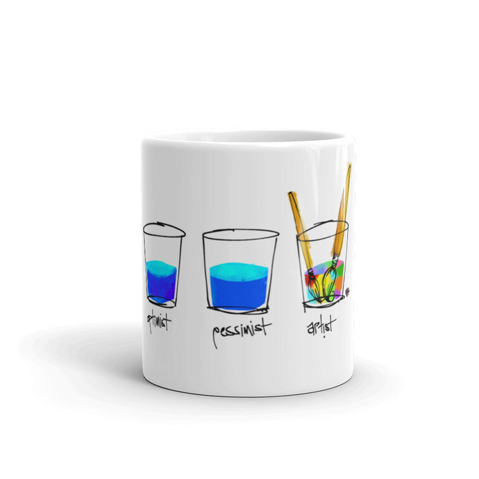 Optimist. Pessimist. Artist.   Mug Illustration by pierre bennu