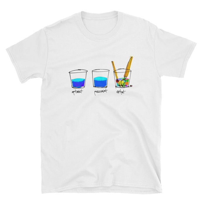 Optimist. Pessimist. Artist. Short-Sleeve Unisex T-Shirt Illustration by pierre bennu