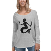 "Load image into Gallery viewer, ""Mermaid Crossing"" Drapey Long Sleeve Tee"