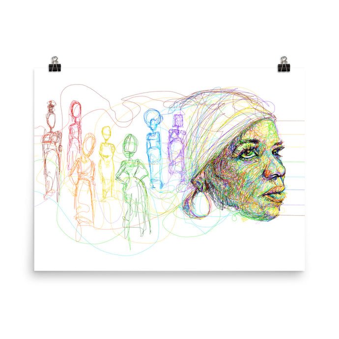 'I Found God In Myself' - Ntozake Shange tribute 18x24 fine art print  by pierre bennu