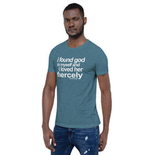 "Load image into Gallery viewer, Ntozake Shange ""i found god..."" tee from the quote collection. Unisex Tee"