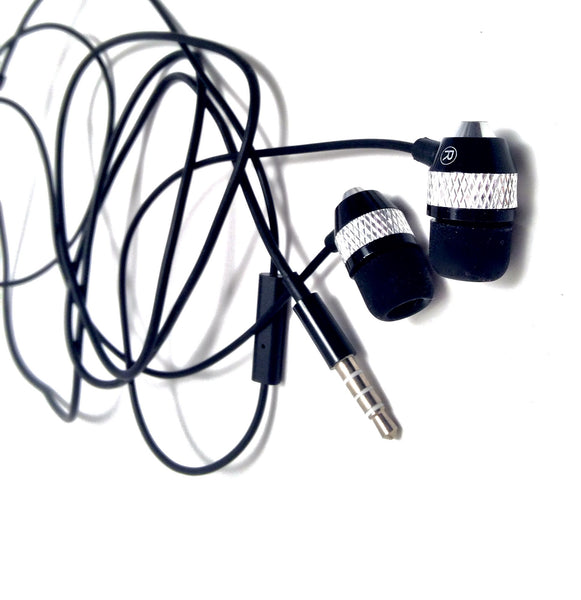 Close up view showing black Tangled Fashing Bullet Metal earbuds