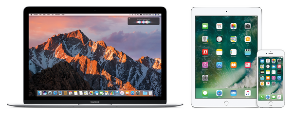 OS X Sierra and iOS 10 shown on a MacBook Pro, iPad and iPhone