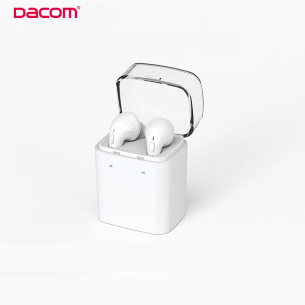 New Arrival Dacom MINI Wireless Bluetooth Headset Double-ear Carkit Earphone with Charge Station for Iphone Airpods 7/7 Plus