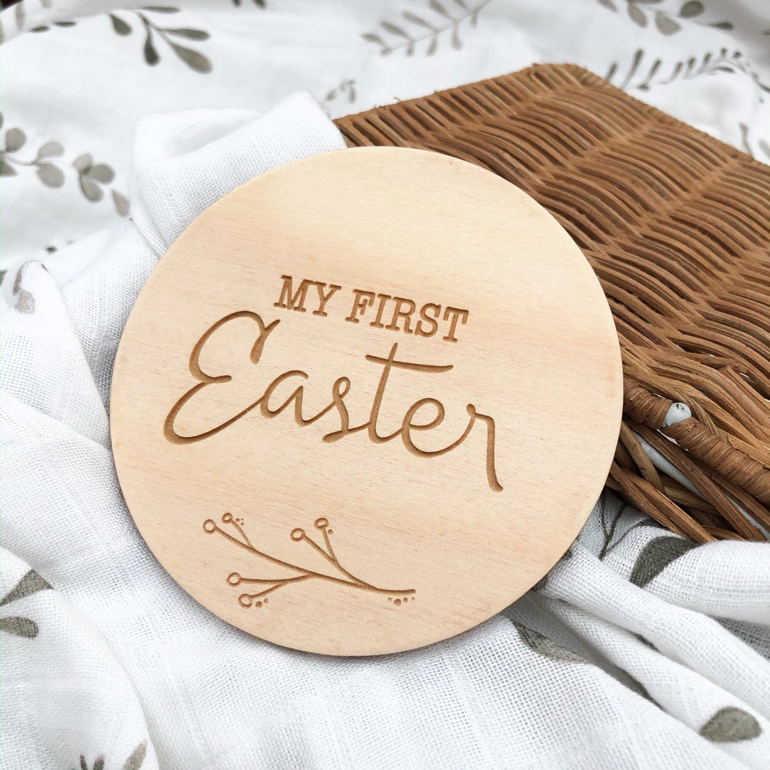 First Easter Wooden Plaque (Natural Foliage)