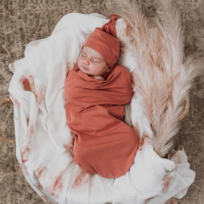 Clay Snuggle Swaddle & Beanie