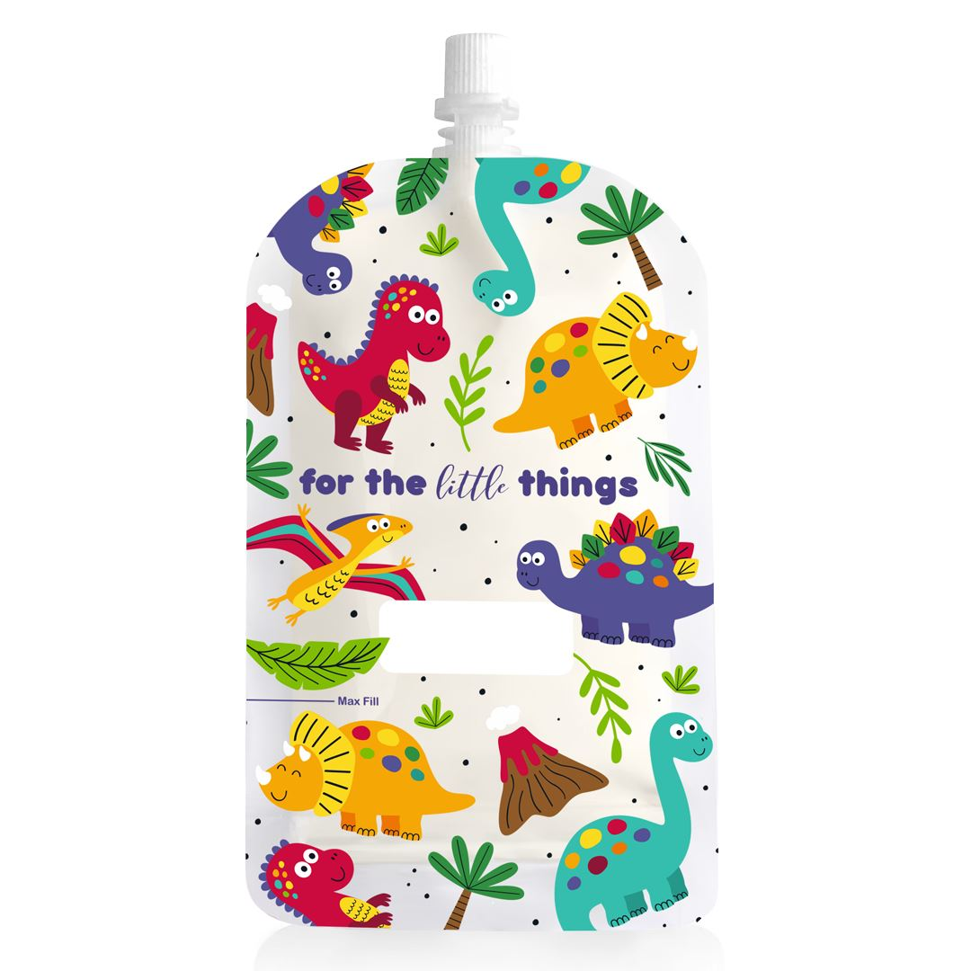 Reusable Food Pouch - Dinosaur 200ml (10 Pack)