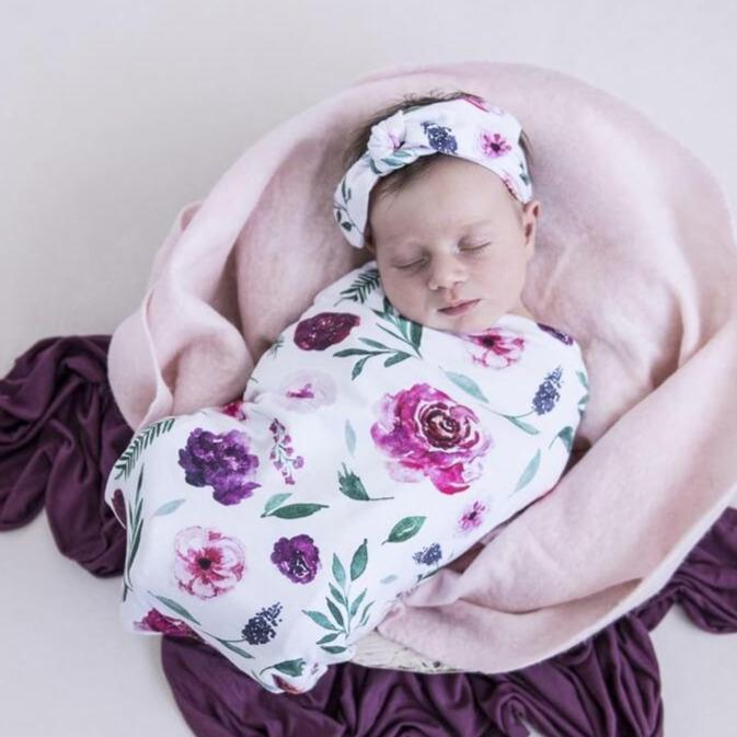 Peony Bloom Snuggle Swaddle & Top Knot